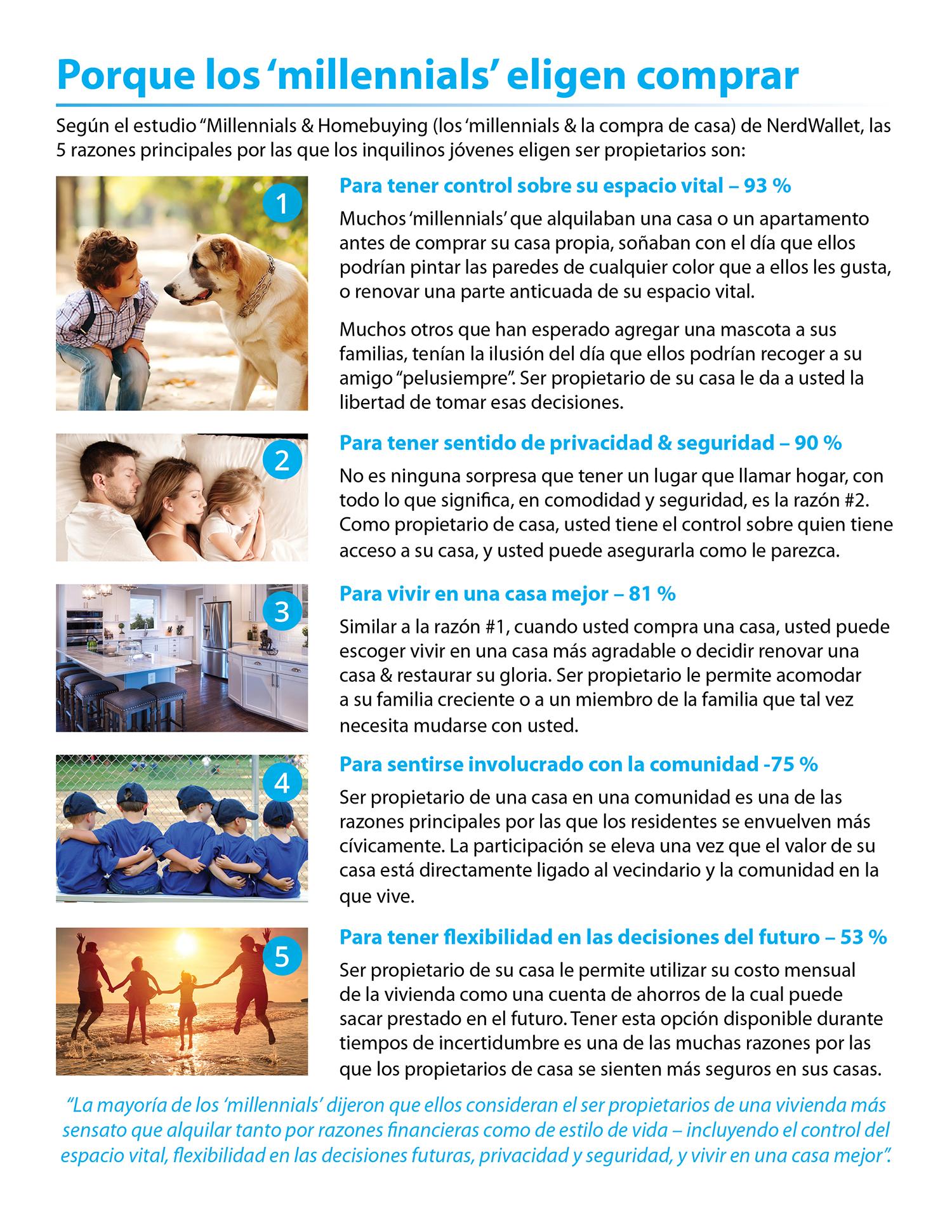 5 razones por las que los 'millennials' eligen comprar una casa [infografía] | Simplifying The Market