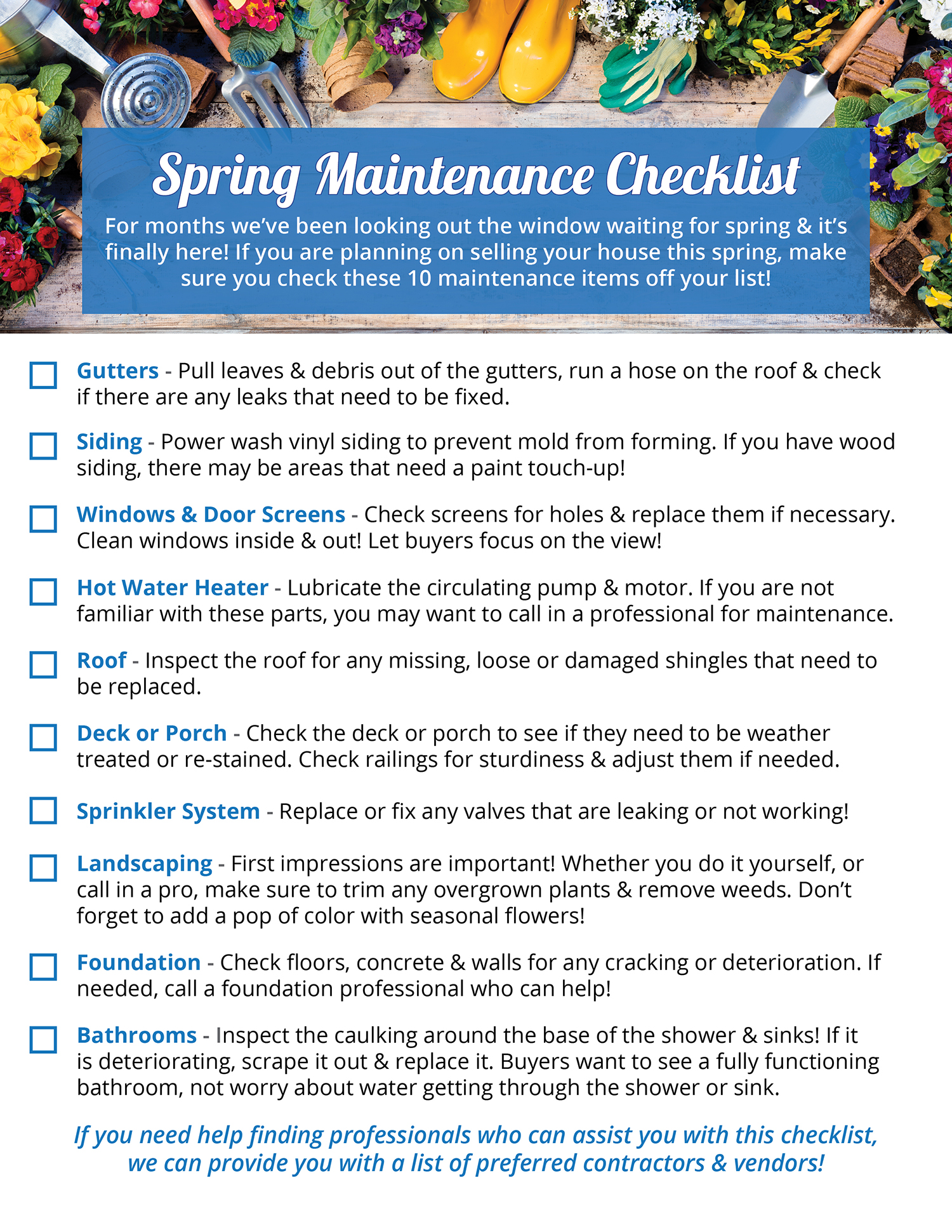 Your Home's Spring Maintenance Checklist  | Simplifying The Market
